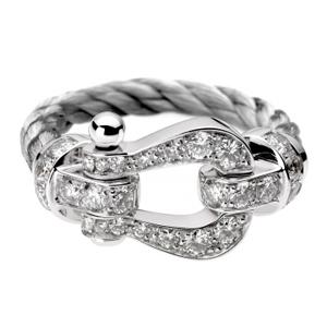 Bague Force 10 Or Blanc Câble Acier Diamants Fred