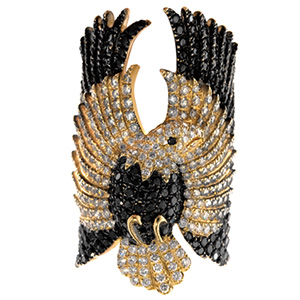 Bague Aigle en Or Jaune Diamants Blancs et Noirs Elise Dray