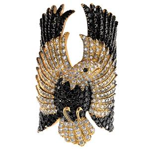 Bague Aigle en Or Jaune Diamants Blancs et Noirs Elise Dray