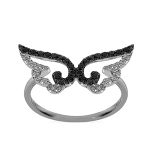 Bague Aile en Or Blanc Diamants Blancs et Noirs Elise Dray