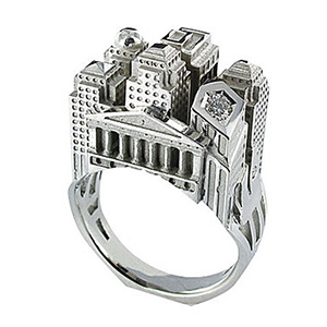 Bague Architecture New York en Or Blanc et Diamant Tournaire