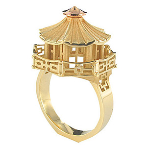 Bague Architecture Pagode Or Jaune et Or Rose de Tournaire
