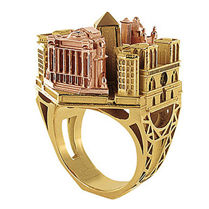 Bague Architecture Paris Or Jaune et Or Rose de Tournaire