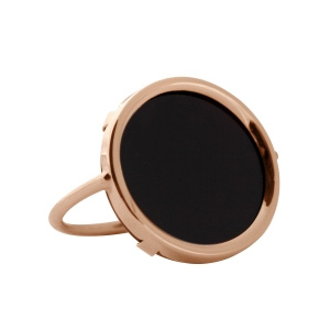 Bague Black Moon Disc Onyx Or Rose Ginette NY