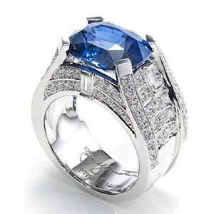 Bague Bridge Or Blanc Diamants et Saphir Harry Winston