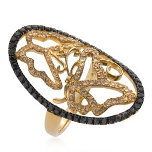 Bague Camée Papillon en Or Jaune, Diamant Noir et Blanc Elise Dray
