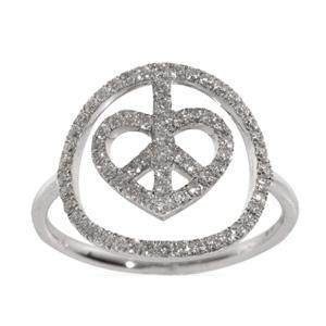 Bague Coeur Peace en Or Blanc et Diamant Blanc Elise Dray