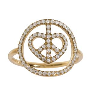 Bague Coeur Peace en Or Jaune et Diamant Blanc d'Elise Dray