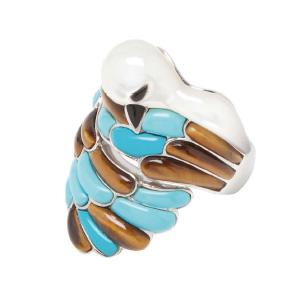 Bague Colombe Turquoise Oeil de Tigre Miel Morganne Bello