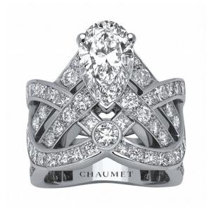 Bague Diadème Joséphine Platine Diamant Poire de Chaumet