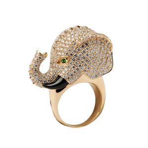 Bague Éléphant Bambou en Diamants Onyx et Diopside Elise Dray