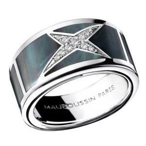 Bague Étoile Mystère Or Blanc Nacre Noire Diamants Mauboussin