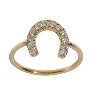 Bague Fer à Cheval en Or Jaune et Diamant Blanc Elise Dray