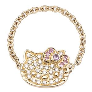 Bague Hello Kitty en Or Jaune, Diamants et Saphirs de Victoria Casal