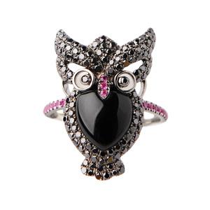 Bague Hibou en Or Noir Diamant Noir Rubis et Onyx d'Elise Dray