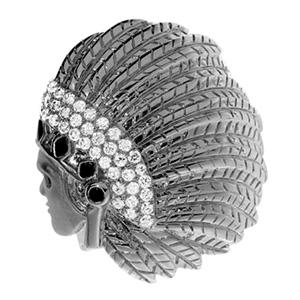 Bague Indien en Or Blanc Diamant Blanc et Onyx Elise Dray