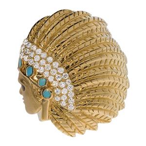 Bague Indien en Diamant Blanc, Turquoise et Onyx d'Elise Dray