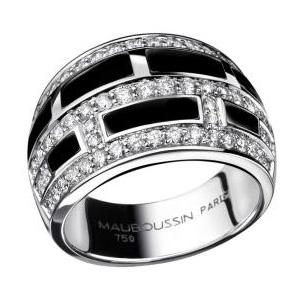 Bague le Vice et la Vertu Or Blanc Diamants laque noire Mauboussin