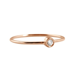 Bague Lonely Diamond en Or Rose et Diamant Ginette NY