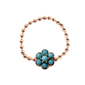Bague Lotus Or Rose et Turquoises Ginette NY