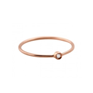 Bague Mini Lonely Diamond Or Rose et Diamant Ginette NY