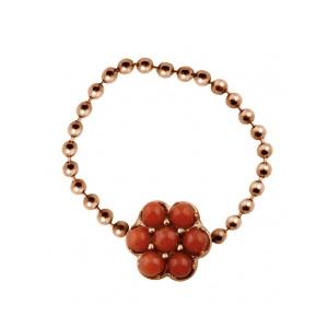 Bague Mini Lotus Corail Or Rose et Coraux de Ginette NY