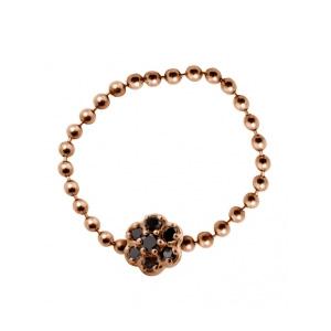 Bague Mini Lotus Or Rose et Diamants Noirs Ginette NY