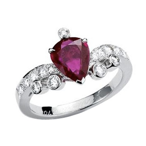 Bague Muguet Or Gris Rubis et Diamants Mellerio dits Meller