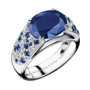 Bague Nuit d'Amour Or Blanc Saphirs Diamants Mauboussin