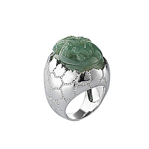 Bague Oeuf Dragon Or Blanc Jade Vert Diamants AS29