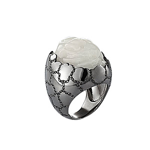 Bague Oeuf Dragon Or Noir Jade Blanche Diamants Noirs AS29