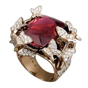 Bague Papillon Jardinier Or Rose Rubellite Diamants Lorenz Bäumer