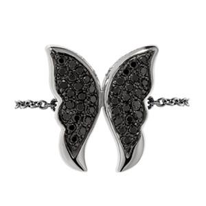 Bague Papillon en Or Blanc et Diamant Noir Elise Dray