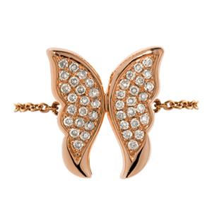 Bague Papillon en Or Rose et Diamant Blanc Elise Dray