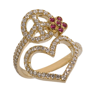Bague Peace Flower en Or Jaune Diamant Blanc et Rubis Elise Dray