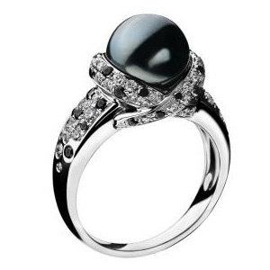 Bague Perle Caviar Or Blanc Perle Grise Diamants Mauboussin
