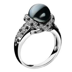 Bague Perle Caviar Or Blanc Perle Grise Diamants Mauboussin