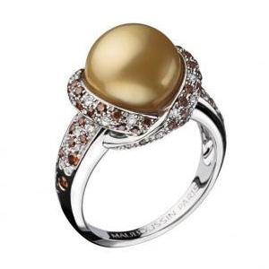Bague Perle Gold Or Blanc Diamants Cognac Mauboussin