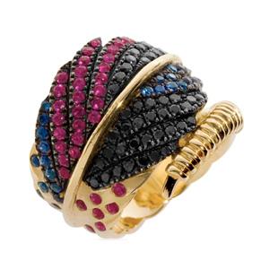 Bague Plume Or Jaune Diamant Noir Rubis et Saphir d'Elise Dray