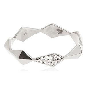Bague Pyramide Or Blanc et Diamants Blancs de Deborah Pagani