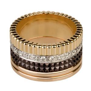 Bague Quatre en Or Chocolat Jaune Rose et Diamants de Boucheron