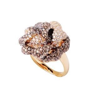 Bague Rose en Or Jaune et Diamant Brun d'Elise Dray
