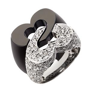 Bague Sceau de Coeurs Or Blanc Céramique Noire Diamants de Poiray