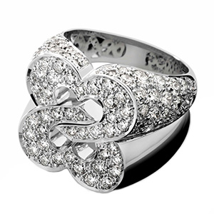 Bague Sceau de Coeurs en Or Blanc et Diamants Blancs de Poiray