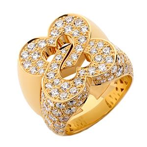 Bague Sceau de Coeurs en Or Jaune et Pavage Diamants de Poiray