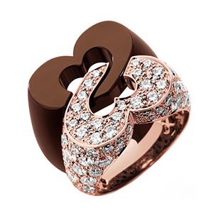 Bague Sceau de Coeurs en Or Rose et Céramique Chocolat de Poiray