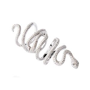 Bague Serpent en Or Blanc Diamant Blanc et Noir d'Elise Dray