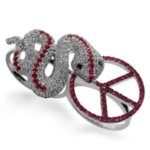 Bague Serpent Peace en Or Blanc Diamant Blanc et Rubis Elise Dray