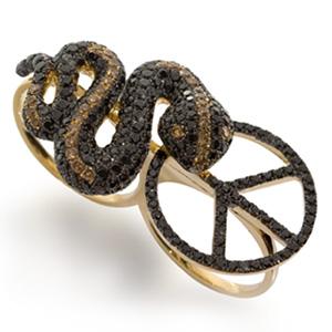 Bague Serpent Peace Diamant Noir Cognac et Rubis d'Elise Dray