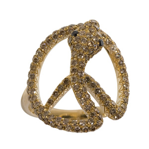 Bague Snake of Peace Or Jaune Diamant Blanc et Noir Elise Dray